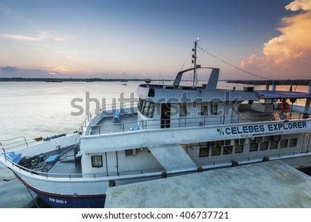 SABAH, MALAYSIA - APRIL  2016; Transportation at Semporna jetty in Sabah during sunrise