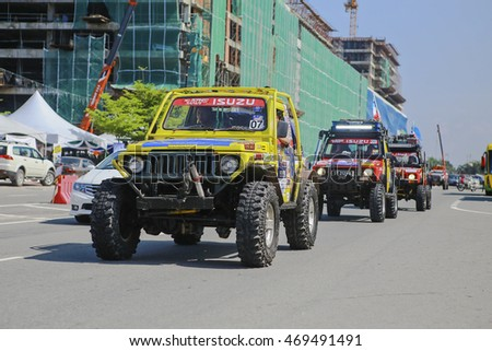 SABAH, MALAYSIA - 16 August 2016 : four wheel drive car on auto show at Festival Borneo Safari 2015. The event held annually to attract youngsters with outdoor and off road activities