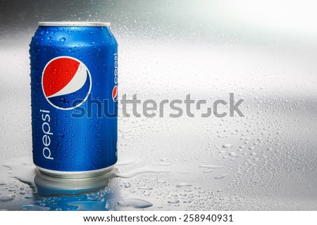 SABAH, MALAYSIA - March 08, 2015: Pepsi can on metal background.