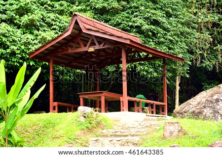SABAH, MY - JUNE 18: Poring Hot Spring pavillion on June 18, 2016 in Sabah, Malaysia. Poring is situated in lowland rainforest, contrasting with the rainforest of Kinabalu National Park.