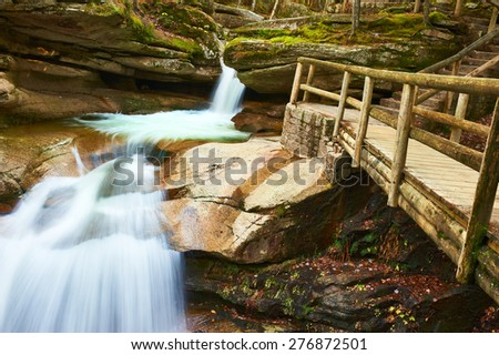 Sabbaday Falls in White Mountain National Forest, New Hampshire, USA. - stock photo