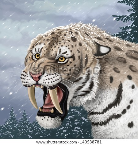 saber-toothed tiger - stock photo