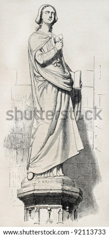Sabina von Steinbach statue old illustration, female stonemason, Strasbourg cathedral. After sculpture by Grass, published on Magasin Pittoresque, Paris, 1845 - stock photo