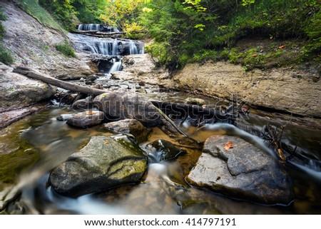Sable Falls in the upper peninsula of Michigan. Grand Marais, Michigan - stock photo