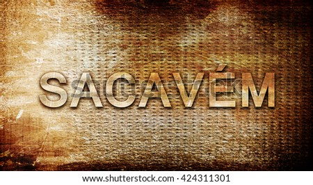 Sacavem, 3D rendering, text on a metal background
