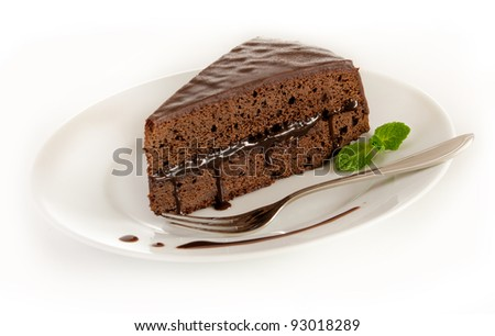 Sacher cake on a plate - stock photo