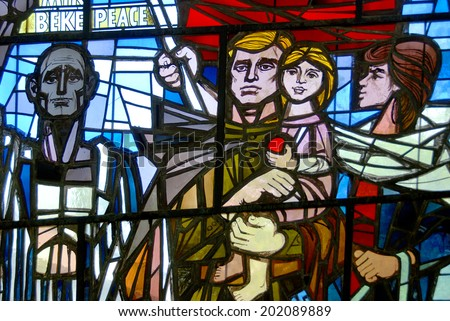 SACHSENHAUSEN-ORANI ENBURG, GERMANY MAY 24: Memorial in Stained Glass to Victims, Partisans & Soviet Liberators from Nazi concentration camps Germany. on may 24 2010 in Sachsenhausen Germany.