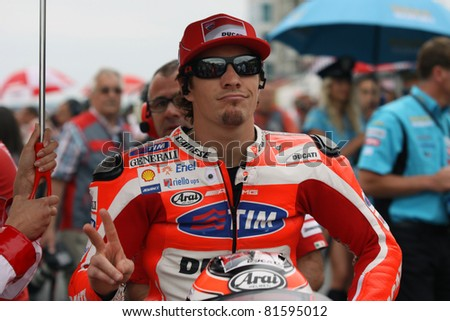 SACHSENRING, GERMANY - JULY 17: American Ducati rider Nicky Hayden on the grid for 2011 Eni MotoGP of Germany on July 17, 2011 in Sachsenring, Germany