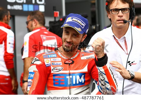 SACHSENRING - GERMANY, JULY 17: Italian Ducati rider Andrea Dovizioso at 2016 Gopro MotoGP of Germany at Sachsenring circuit on July 17, 2016