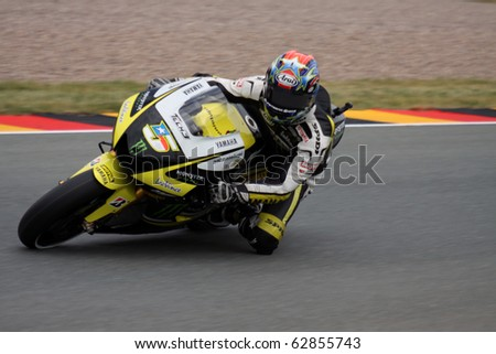 SACHSENRING, GERMANY - JULY 17: US rider Carl Edwars pushes hard during practice at Eni German Motorcycle Grand Prix on July 17, 2010 in Sachsenring, Germany