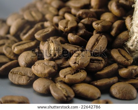sack and coffee beans - stock photo