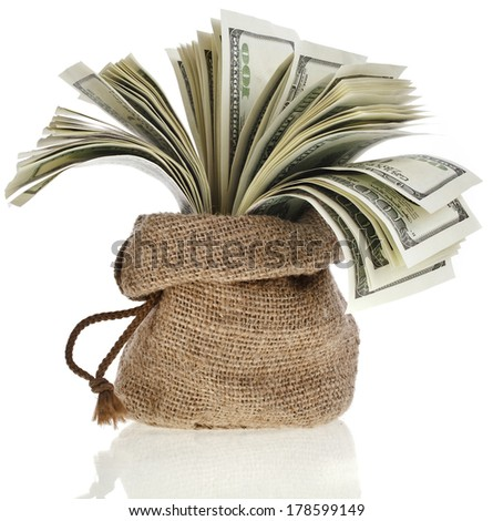 sack bag full  money banknotes isolated on a white background - stock photo