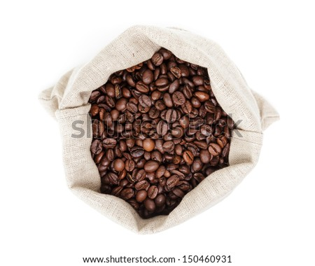 sack bag full of roasted coffee beans, isolated on white - stock photo