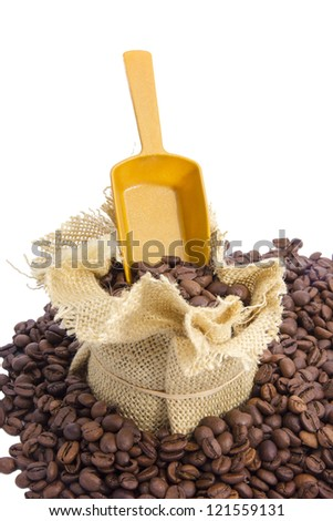 Sack of coffee beans and scoop with coffee isolated on white - stock photo
