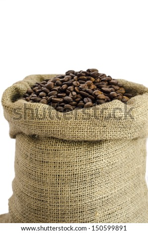 sack of coffee beans isolated on white background - stock photo