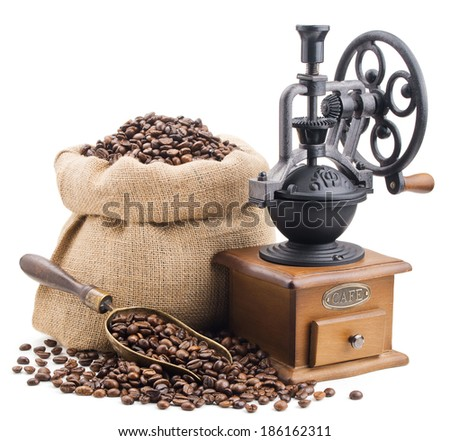 sack of coffee beans with retro grinder isolated on white background - stock photo
