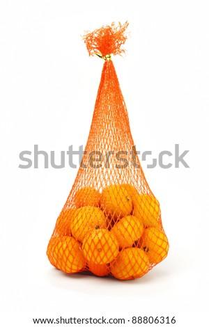 Sack of mandarin oranges for Chinese New Year - stock photo