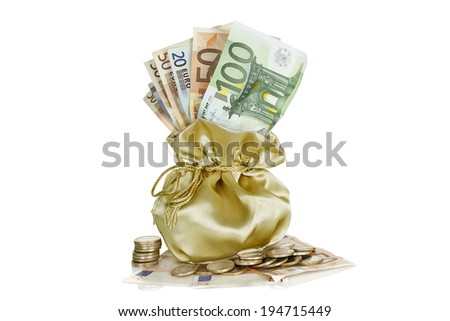 sack of money with banknotes and coins isolated - stock photo