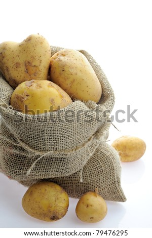 Sack of potatoes - stock photo