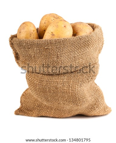 Sack of potatoes isolated on white background