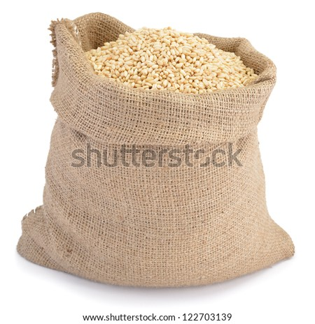 Sack of wheat grains isolated on white background - stock photo