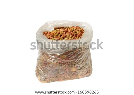 Sack with a dry cat's feed - stock photo