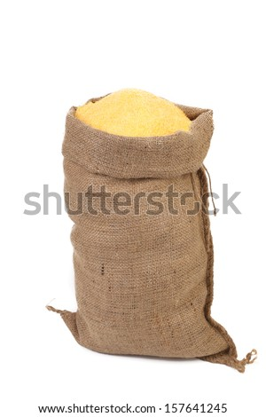 Sack with corn flour. Isolated on a white background. - stock photo
