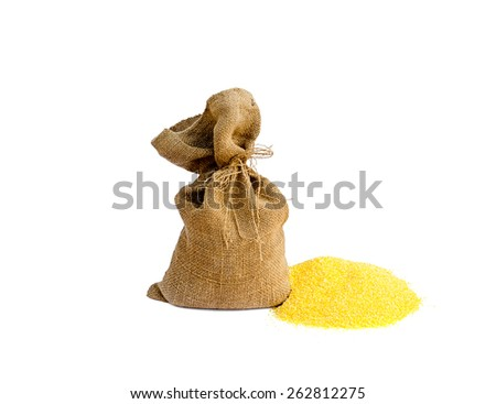 sack with corn grain - stock photo