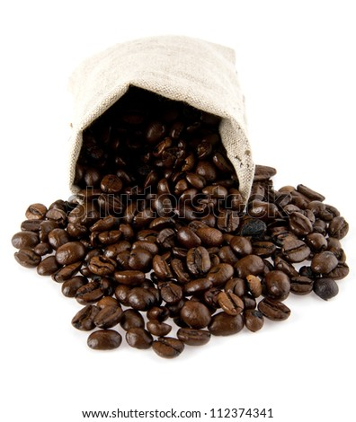 sack with grains of coffee on a white background