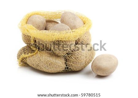 sack with potatoes on white