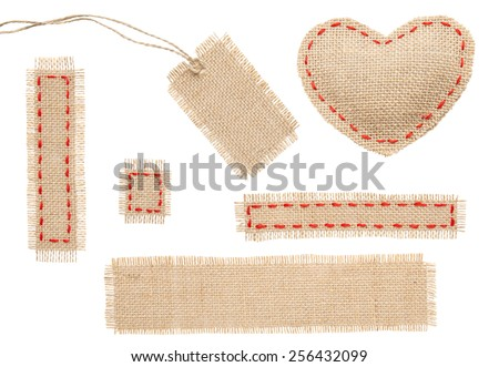 Sackcloth Heart Shape Patch Tag Label Object with Stitches Seam, Burlap Isolated over White Background - stock photo