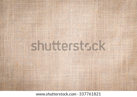 Sackcloth woven texture pattern background in light cream beige brown color tone: Eco friendly raw organic flax sack cloth fabric textile backdrop: Bag rope thread detailed textured burlap canvas  - stock photo