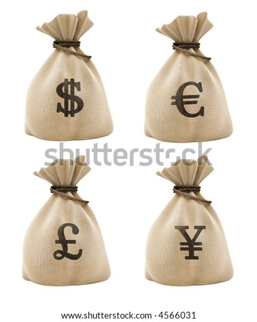 sacks with money different currencies isolated with clipping path included - stock photo