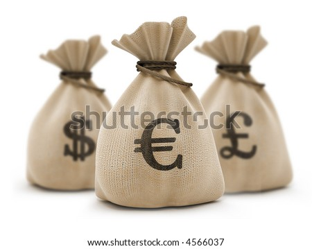 sacks with money different currencies isolated with clipping path included