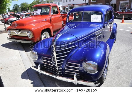 SACO, MAINE - JULY 27: old american car in a annual exhibition on July 27, in Saco ME. The exhibition is taken in Saco every year at the last saturday of July