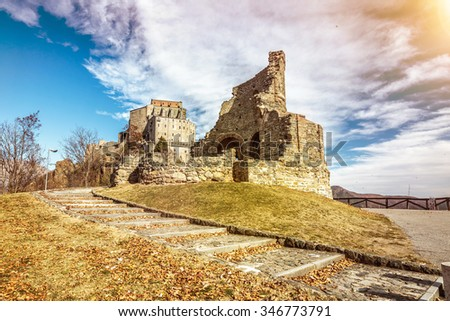 Sacra di San Michele, ancient worship on top of the mountain in Turin, Italy - stock photo