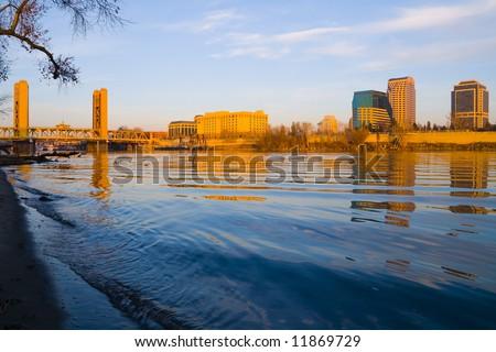 Sacramento at sunset - stock photo