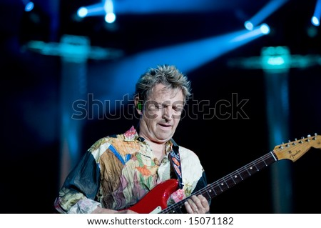 Sacramento, CA - July 17,2008: Bassist  Andy Summers performs onstage at the Sleep Train Amphitheater in Marysville, CA with The Police in their North American Reunion Tour - stock photo