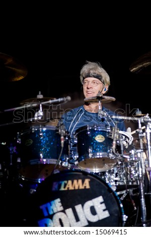 Sacramento, CA - July 17,2008: Drummer Stewart Copeland performs on-stage at the Sleep Train Amphitheater in Marysville, CA with The Police in their North American Reunion Tour