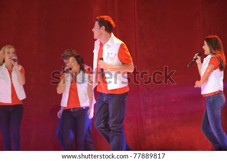SACRAMENTO, CA - MAY 23: Corey Monteith, Lea Michele and cast members perform at the Glee Live! In Concert! tour at the Power Balance Pavilion on May 23, 2011 in  Sacramento, California. - stock photo