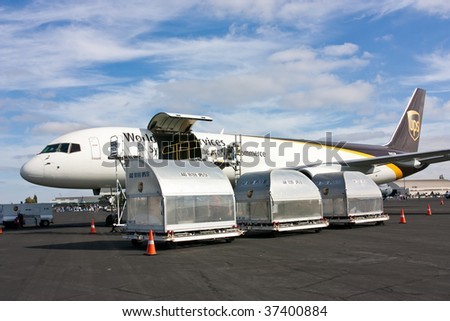 SACRAMENTO, CA - SEPT 13: Boeing 757-24APF UPS on display at California Capital Airshow, September 13, 2009, Mather Airport, Sacramento, CA - stock photo