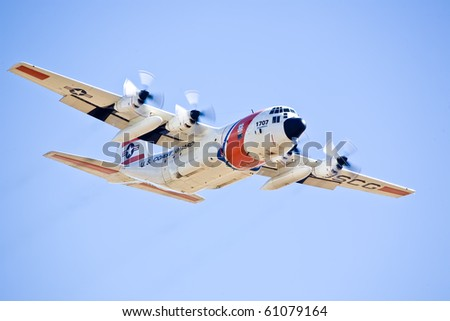 SACRAMENTO, CA - SEPT 11: US Coast Guard C-130 Hercules at California Capital Airshow, September 11, 2010, Mather Airport, Sacramento, CA - stock photo
