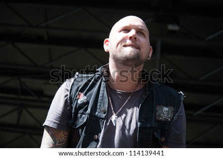 SACRAMENTO, CA - SEPTEMBER 23: Brandon Saller of Hell or Highwater performs as part of the Aftershock Music Festival at Discovery Park on September 23, 2012 in Sacramento, California. - stock photo