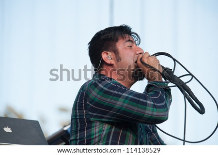 SACRAMENTO, CA - SEPTEMBER 23: Chino Mareno of the Deftones performs at  Aftershock music festival more at Discovery Park in  Sacramento, CA on September 23, 2012 - stock photo