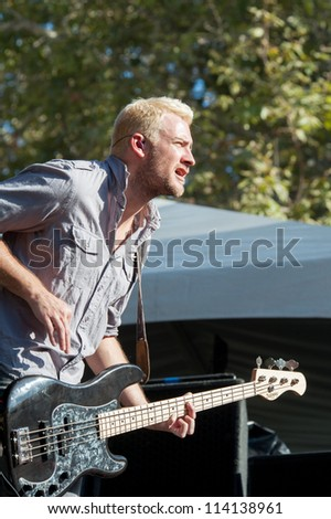 SACRAMENTO, CA - SEPTEMBER 23: Corey Britz  of Bush performs in Aftershock music festival featuring Bush, Deftones, STP, and more at Discovery Park in  Sacramento, CA on September 23, 2012 - stock photo