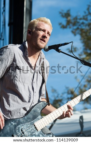 SACRAMENTO, CA - SEPTEMBER 23: Corey Britz  of Bush performs in Aftershock music festival featuring Bush, Deftones, STP, and more at Discovery Park in  Sacramento, CA on September 23, 2012