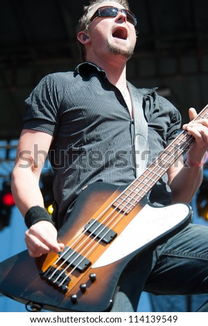 SACRAMENTO, CA - SEPTEMBER 23: Dean Back of Theory od a Deadman performs as part of the Aftershock Music Festival at Discovery Park on September 23, 2012 in Sacramento, California. - stock photo