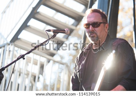 SACRAMENTO, CA - SEPTEMBER 23:  Doug Eldridge  of Oleander performs at the Aftershock music festival featuring Bush, Deftones, STP, at Discovery Park in  Sacramento, CA on September 23, 2012 - stock photo