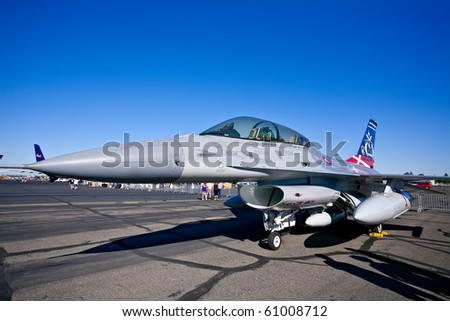 SACRAMENTO, CA - SEPTEMBER 11: Royal Danish Air Force F-16 Falcon JSF Test Support Aircraft on display at California Capital Airshow, September 11, 2010, Mather Airport, Sacramento, CA - stock photo
