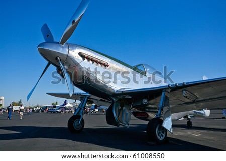 SACRAMENTO, CA - SEPTEMBER 11: Vintage P-51 Mustang aircraft on display at California Capital Airshow, September 11, 2010, Mather Airport, Sacramento, CA - stock photo